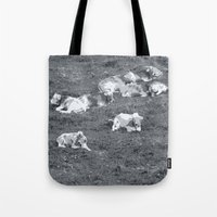 cows Tote Bags featuring Cows by Mr and Mrs Quirynen