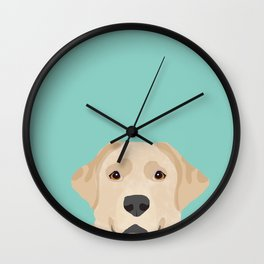 Yellow Lab dog portrait labrador retriever dog art pet friendly Wall Clock
