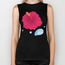 Hibiscus and Thunderhead reflected in a Drop of water_R Biker Tank