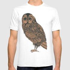 Heaton Owl Mens Fitted Tee White MEDIUM