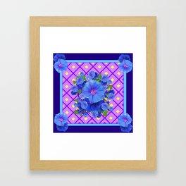 Blue & Purple Morning Glories Pattern Art Framed Art Print