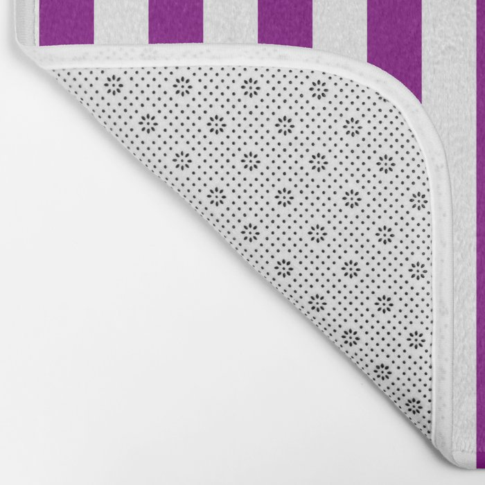 Vertical Stripes (Purple/White) Bath Mat