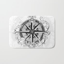 Black and White Scrolling Compass Rose Bath Mat