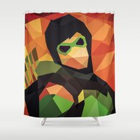 dc comics Shower Curtains featuring DC Comics Green Arrow by Eric Dufresne