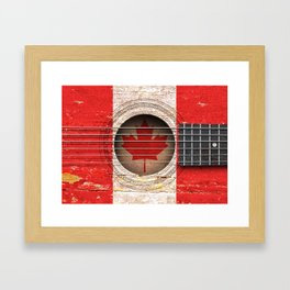 Old Vintage Acoustic Guitar with Canadian Flag Framed Art Print