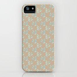 Beige tan and blue watercolor elegant botanical leaves pattern iPhone Case