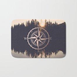 Rose Gold Compass Forest Bath Mat