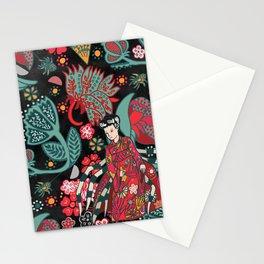 Spiders and japanese yokai Jorogumo, black background. Stationery Cards