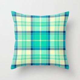 Turquoise Tartan Throw Pillow