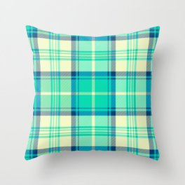 Turquoise Tartan Throw Pillow
