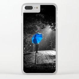 Blue Umbrella Clear iPhone Case