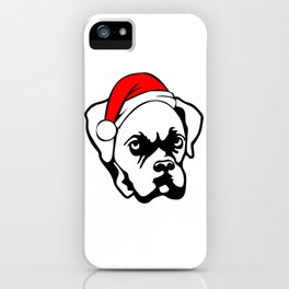 Boxer Dog with Christmas Santa Hat iPhone Case