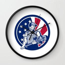 American Plumber and Pipefitter USA Flag Icon Wall Clock