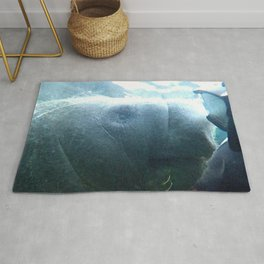 Watercolor People in Nature, AaP, Adult 17, and Manatee, Crystal River, Florida Rug