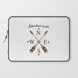 Cardinal directions Compass Arrows Adventure awaits Typography Laptop Sleeve