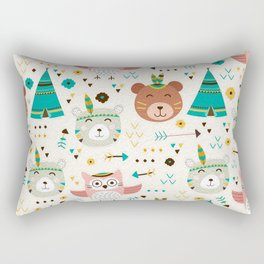 Boho Forest , Woodland Critters Rectangular Pillow