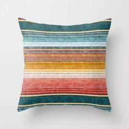 serape southwest stripe - orange & teal Throw Pillow