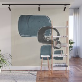 Retro Abstract Design in Charcoal Grey and Teal Wall Mural