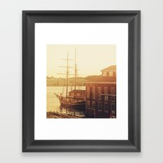 Tall Ship on Waterfront Framed Art Print