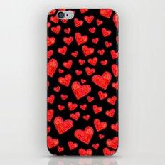 Hearts Motif Black iPhone & iPod Skin