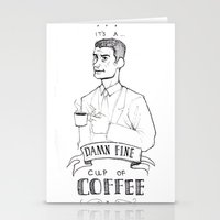 dale cooper Stationery Cards featuring DALE COOPER - A FINE CUP OF COFFEE by Adrianna Ojrzanowska