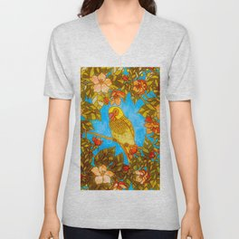 Colourful Yellow Parakeet In Flowery Wreath Unisex V-Neck