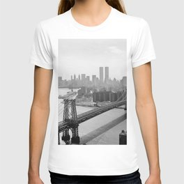 Williamsburg Bridge, East River at South Sixth St. & Twin Towers, New York City skyline photograph T-shirt