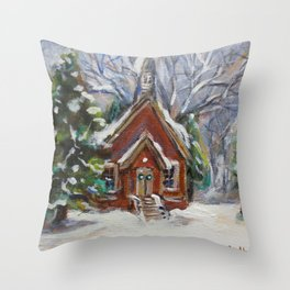 Little white country church chapel Wintry scene Throw Pillow