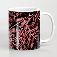 burgundy Mugs featuring Burgundy Bracken by Moonshine Paradise