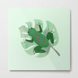 Cute Green Frog/Toad on Leaf Metal Print