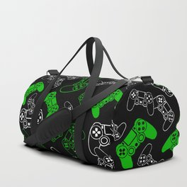 Video Games Green on Black Duffle Bag