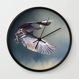 Heron in Flight Wall Clock