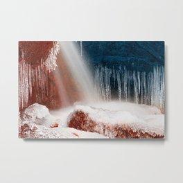 Winter Harmony Stream - Red White & Blue Metal Print