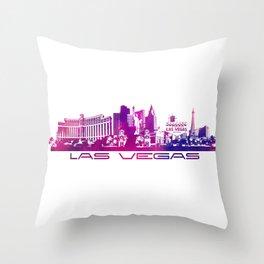 Las Vegas skyline purple Throw Pillow