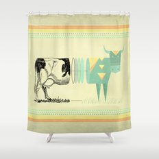 the black and white cow who wanted to be colorfully geometric  Shower Curtain