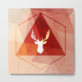 Deer poly Metal Print