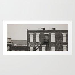 Vintage Film City scape bw Art Print