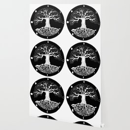 black and white tree of life with moon phases and celtic trinity knot Wallpaper