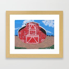 Red Wood Farm Barn Framed Art Print