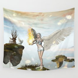 Wonderful fairy  on the rock Wall Tapestry