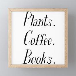 Plants, Coffee and Books Framed Mini Art Print