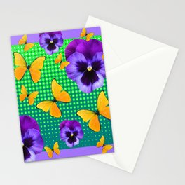 PURPLE PANSIES-BUTTERFLY GREEN OPTIC ART Stationery Cards