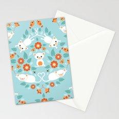Cat damask Stationery Cards