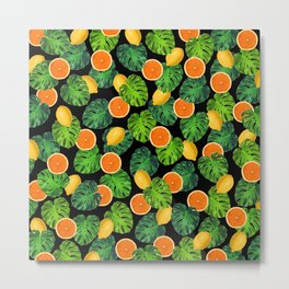 Oranges Lemons Monstera Leaf Black Metal Print