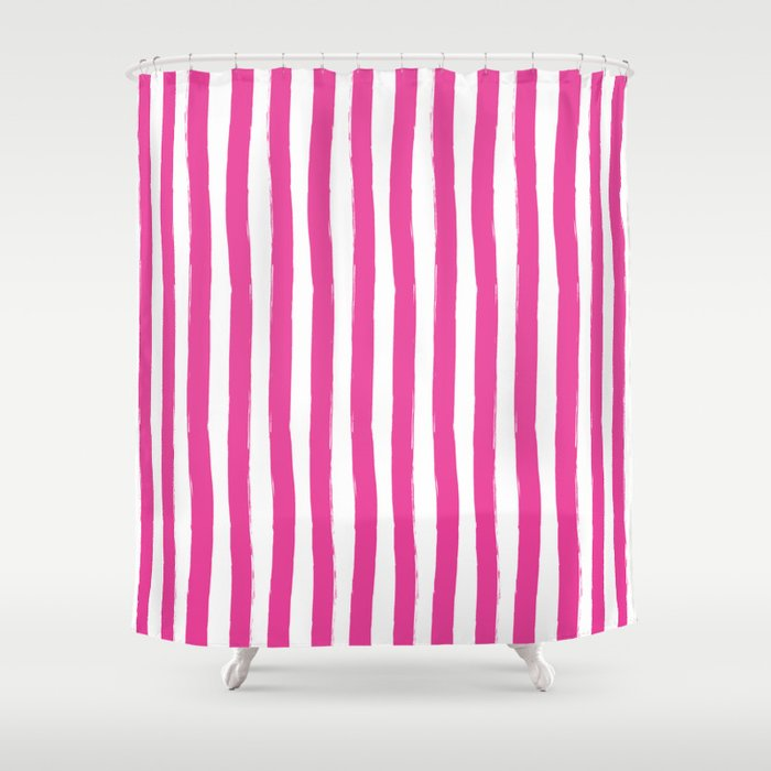 Pink And White Cabana Stripes Palm Beach Preppy Shower Curtain