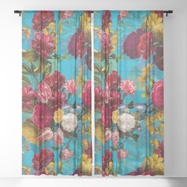 Vintage & Shabby Chic - Midnight Tropical Garden Sheer Curtain