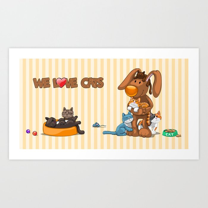Rabbit catlover Art Print