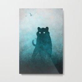 Space Tiger Silhouette Metal Print