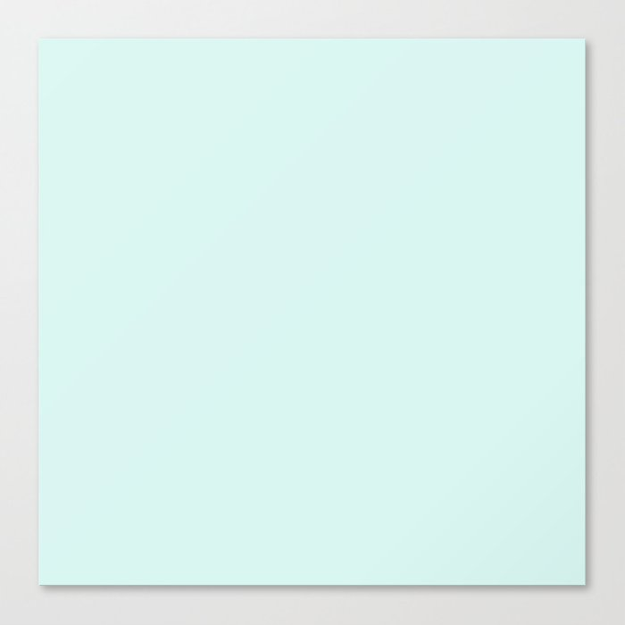 Light Cyan Soft Mint Green Solid Matte Colour Palette Canvas Print