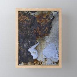 Old white paint on rusty metal Framed Mini Art Print